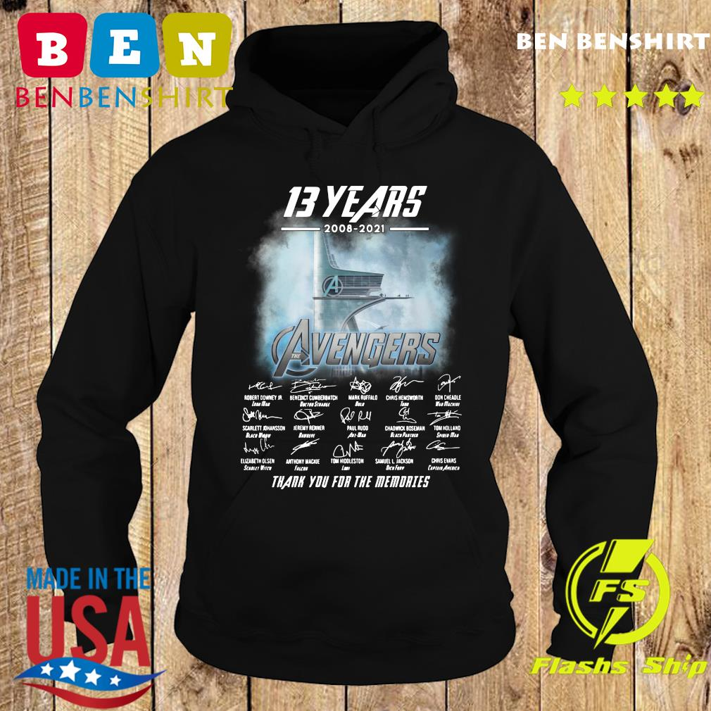 Official 13 Years 2008 2021 Of The Avengers Signatures Thanks For The Memories Shirt Hoodie