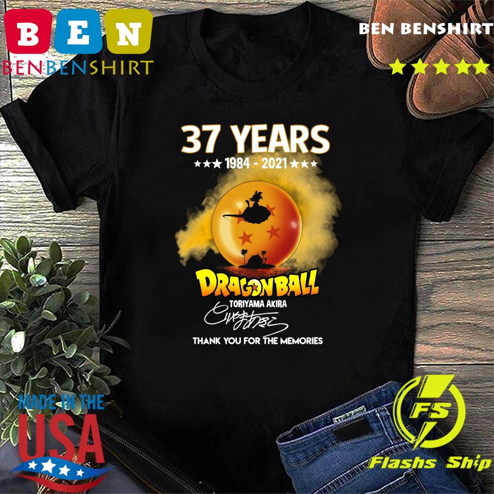 Official 37 Years of 1984 2021 Dragon Ball toriyama Akira signature thank you for the memories shirt