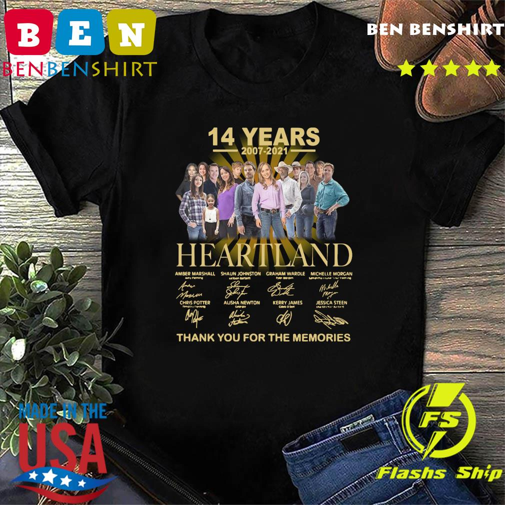 Official The Heartland Characters 14 Years 2007 2021 Signatures Thanks For The Memories Shirt