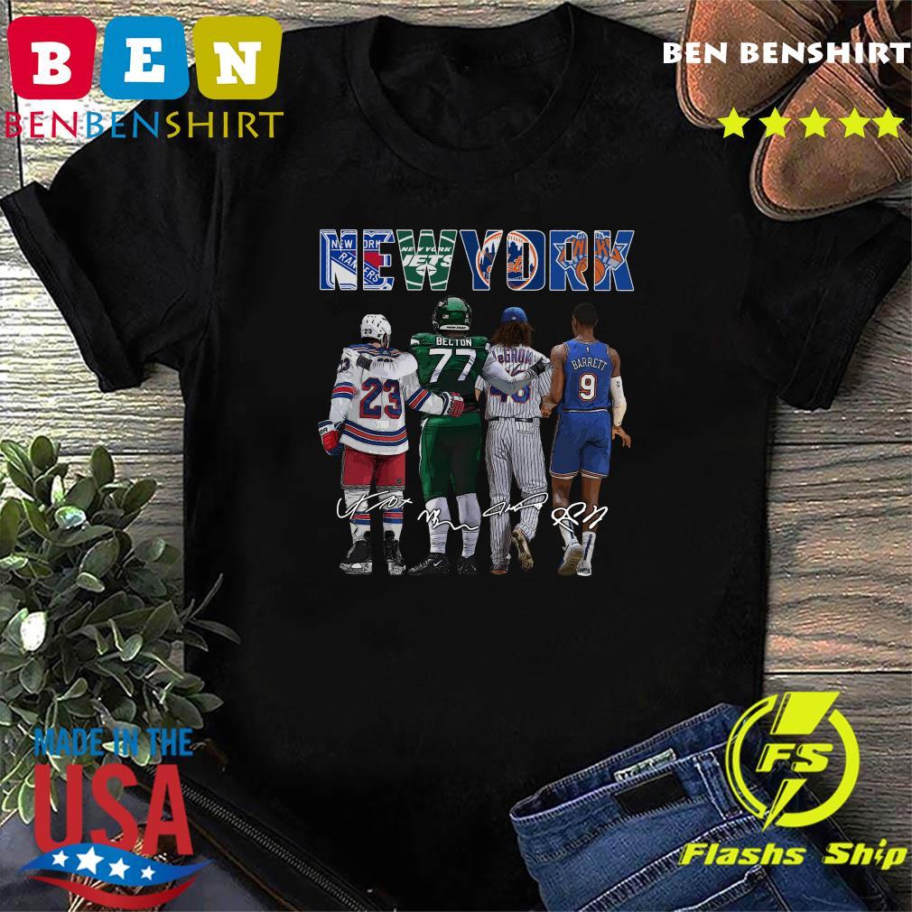 Official New York Sport Teams 23 Adam Fox 77 Belton 46 Lance Johnson And 9 Barrett 2021 Signatures Shirt