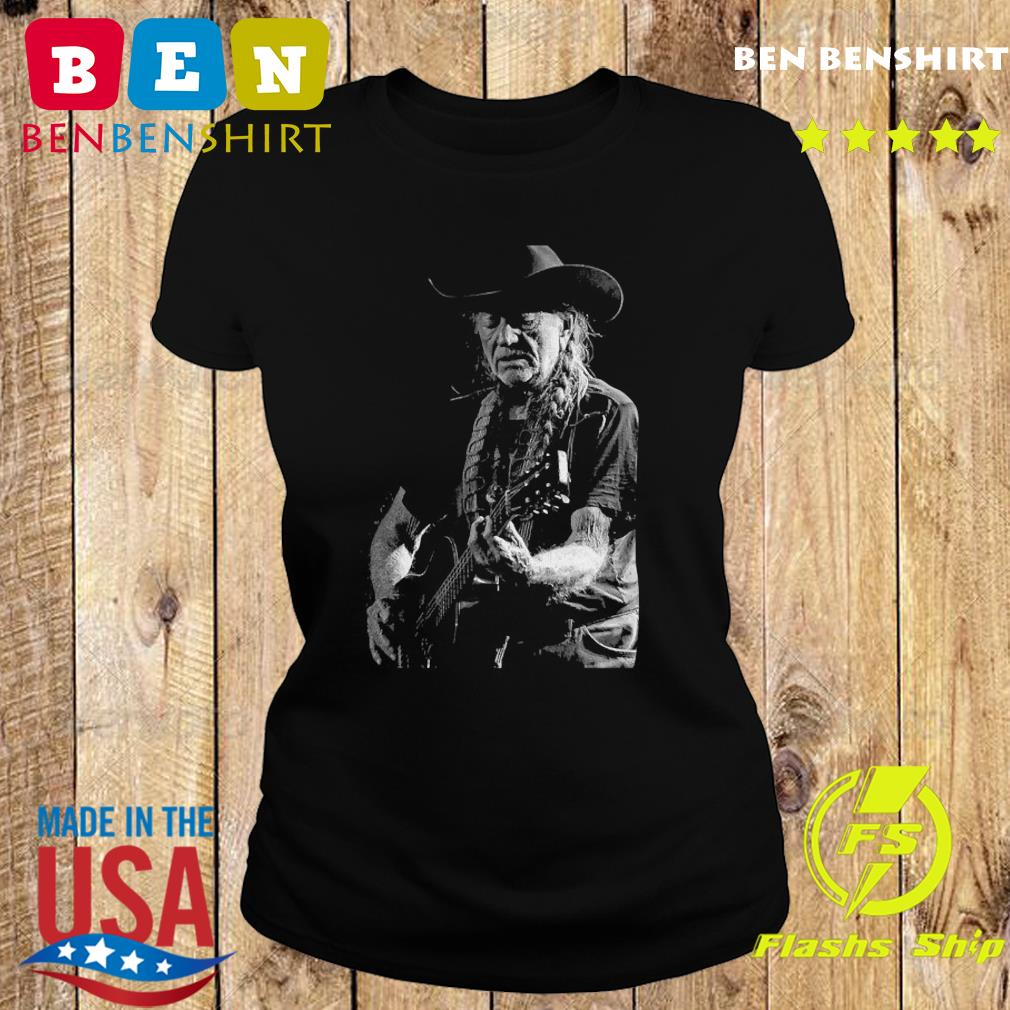 Willie Nelson Playing Guitar Shirt Ladies tee