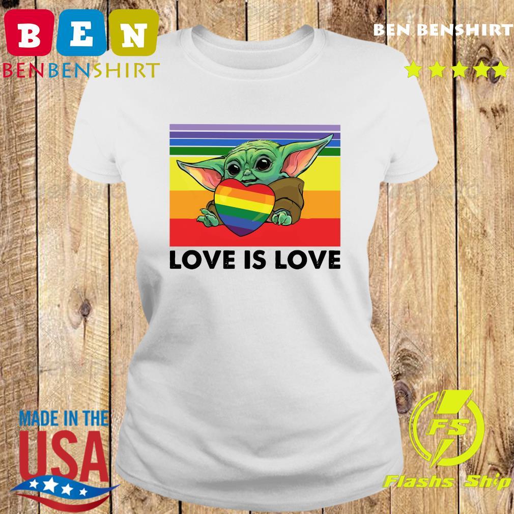 Official Star Wars Baby Yoda Hug Heart LGBT Love Is Love Vintage Shirt Ladies tee