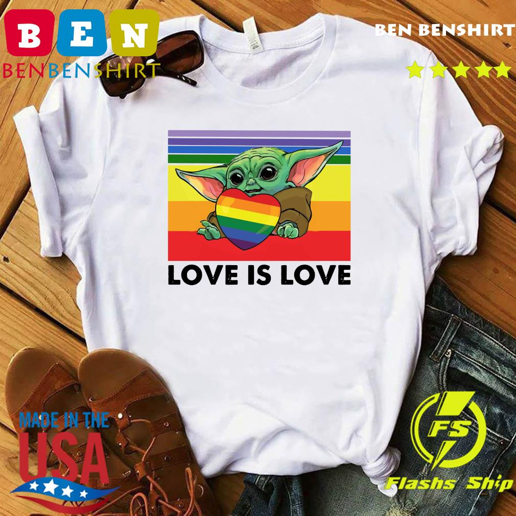 Official Star Wars Baby Yoda Hug Heart LGBT Love Is Love Vintage Shirt