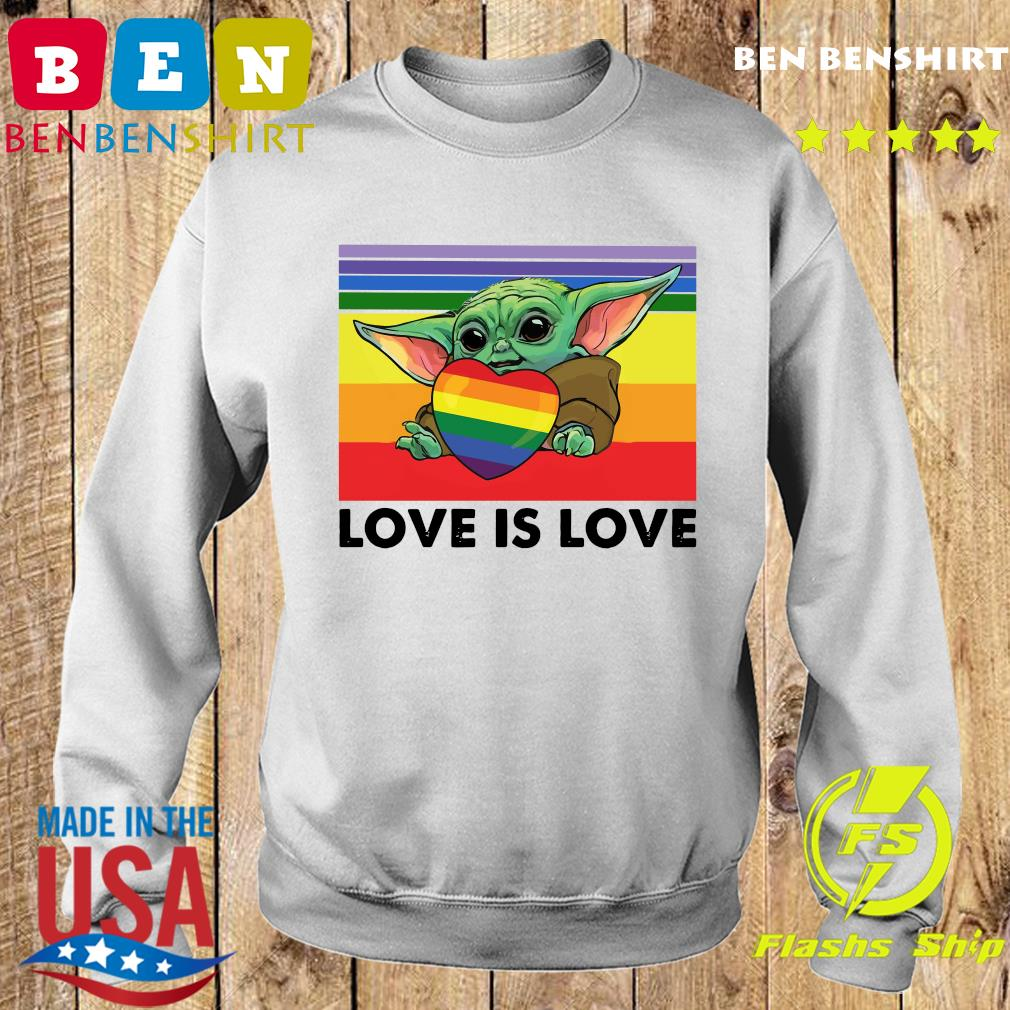 Official Star Wars Baby Yoda Hug Heart LGBT Love Is Love Vintage Shirt Sweater