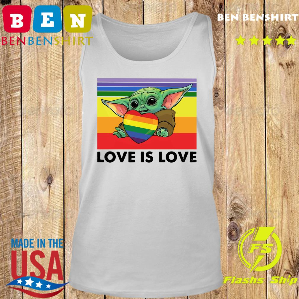 Official Star Wars Baby Yoda Hug Heart LGBT Love Is Love Vintage Shirt Tank top