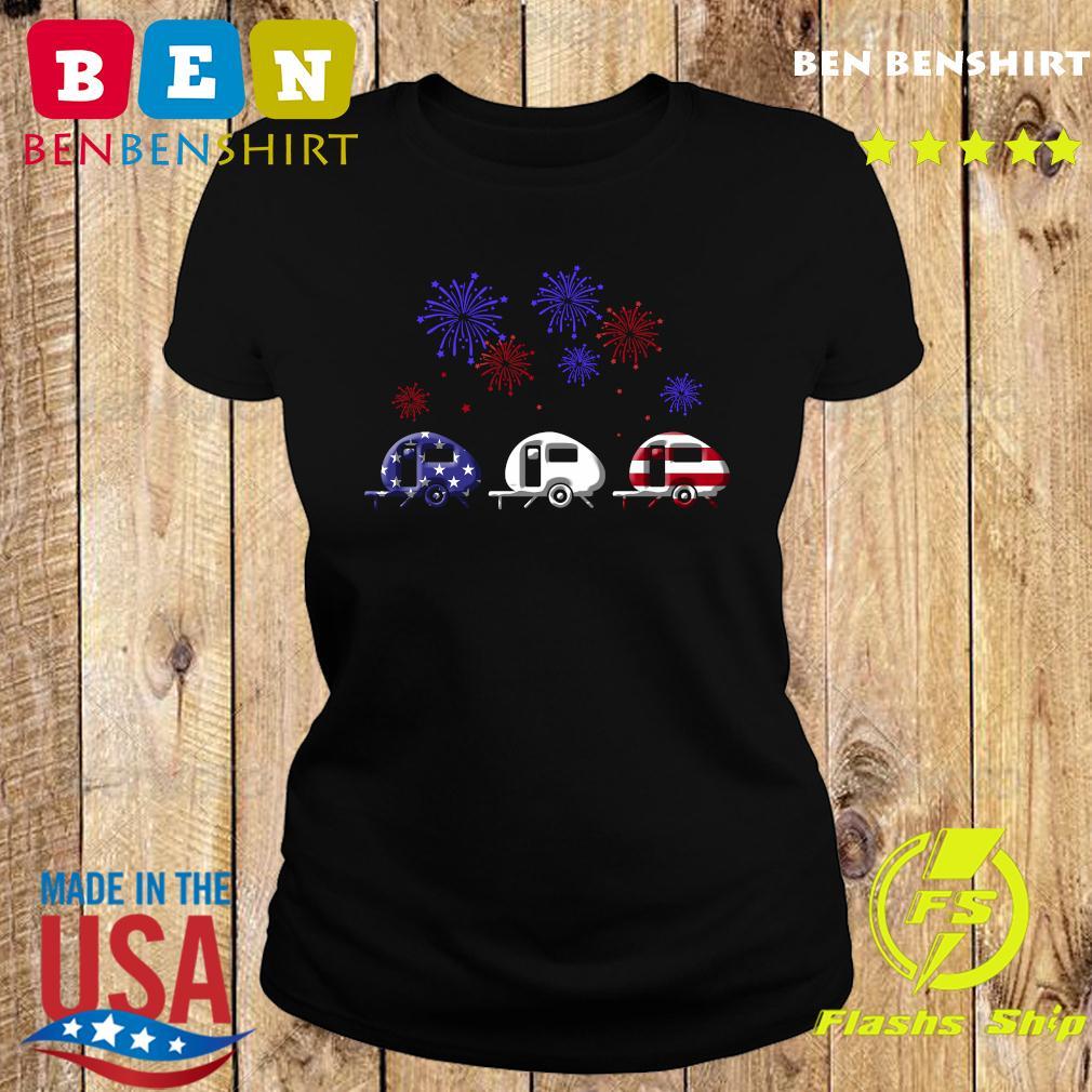 Fireworks 4th Of July American Flag Shirt Ladies tee