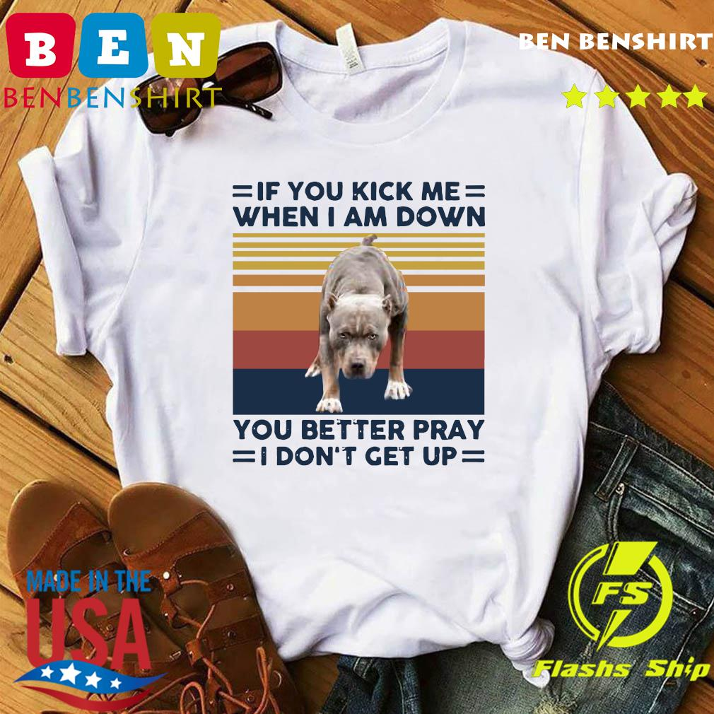 Pitbull If You Kick Me When I Am Down You Better Pray I Don't Get Up Vintage Shirt