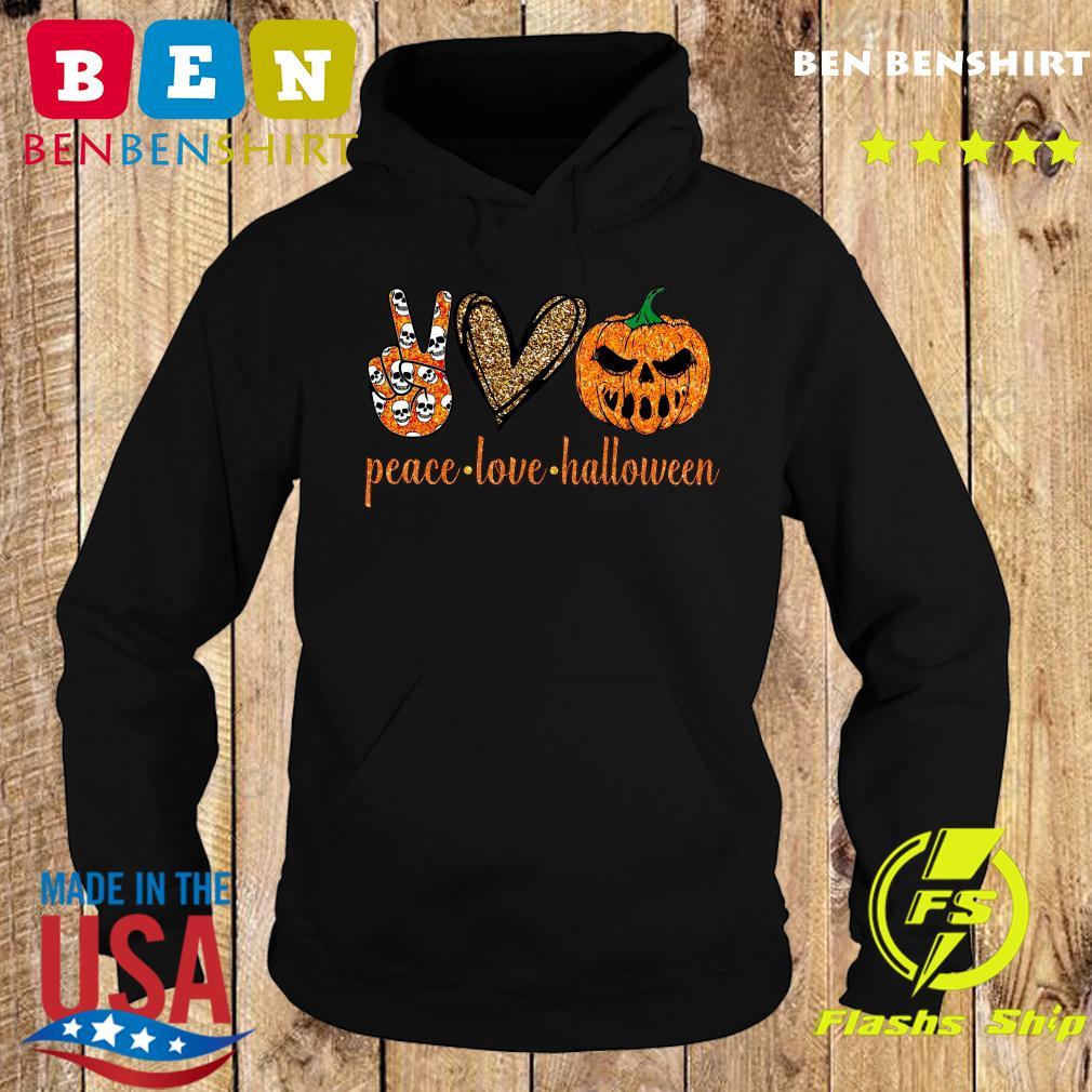 Skull Peace Love Halloween Shirt Hoodie