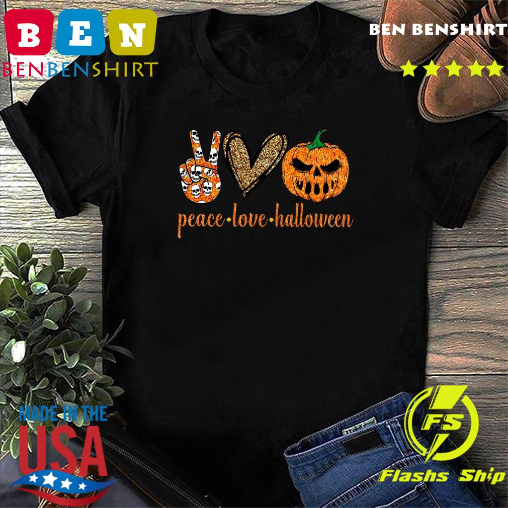 Skull Peace Love Halloween Shirt