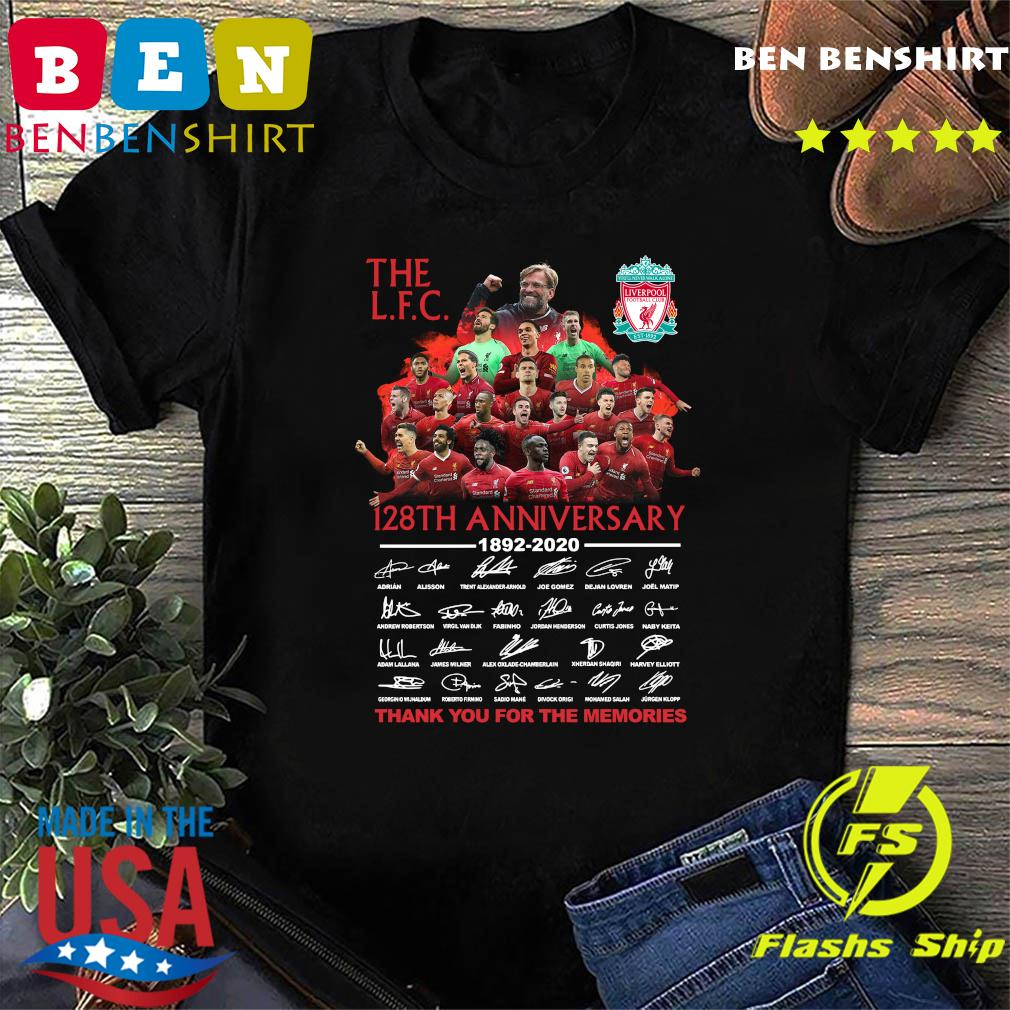 The Liverpool Football Club 128th Anniversary 1892 2020 Thank You For The Memories Signatures Shirt