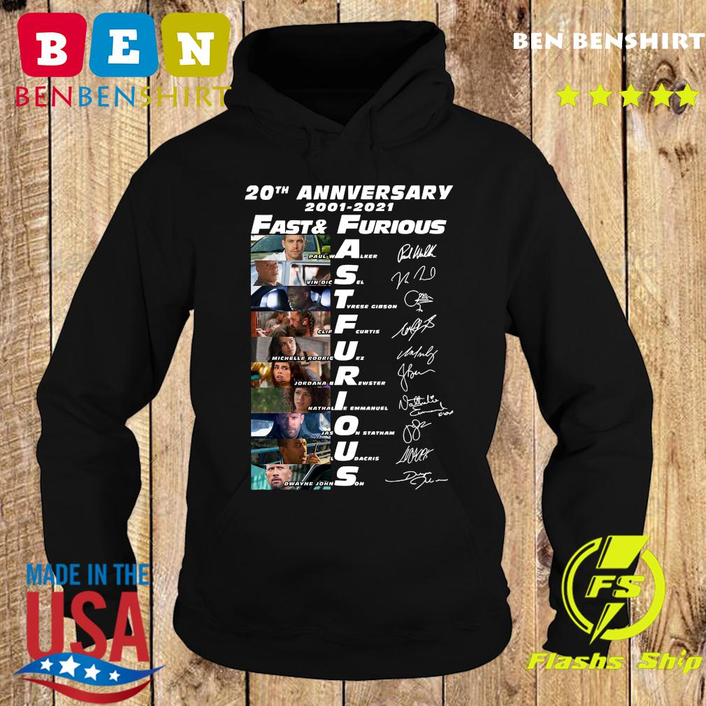 20th Anniversary 2001 2021 Fast And Furious Paul Walker Vin Diesel Dwayne Johnson Signatures Shirt Hoodie