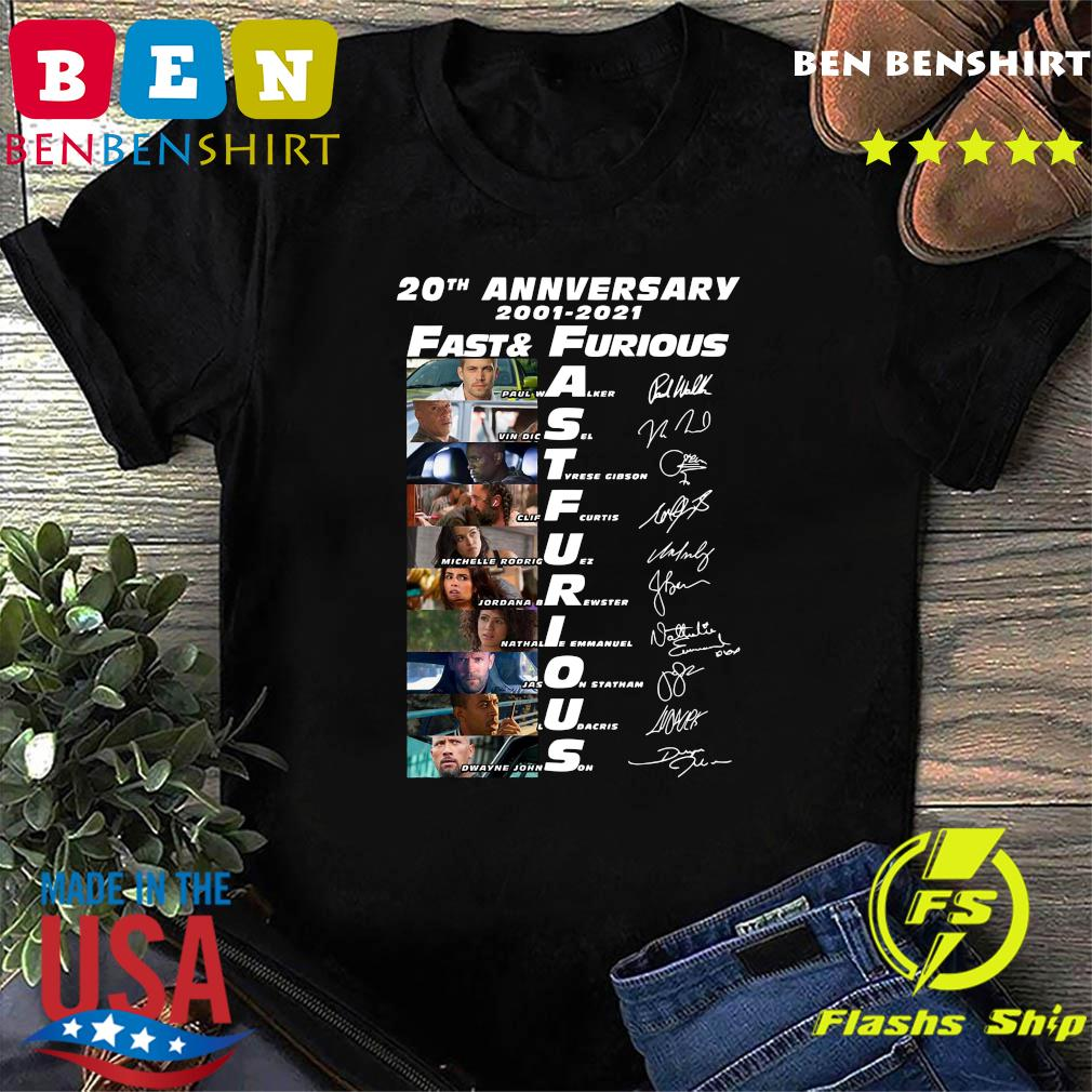 20th Anniversary 2001 2021 Fast And Furious Paul Walker Vin Diesel Dwayne Johnson Signatures Shirt