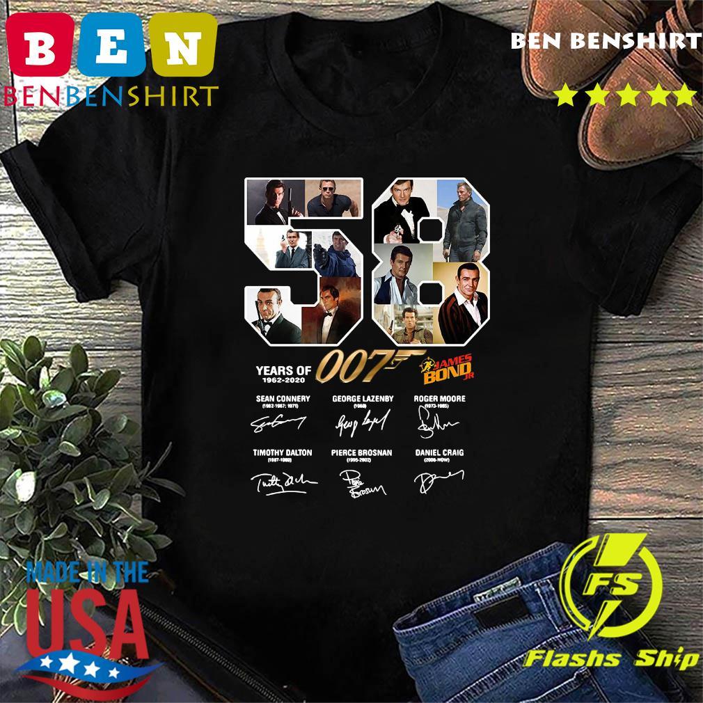 50 Years Of 007 1962 2020 James Bond Jr Signatures Shirt