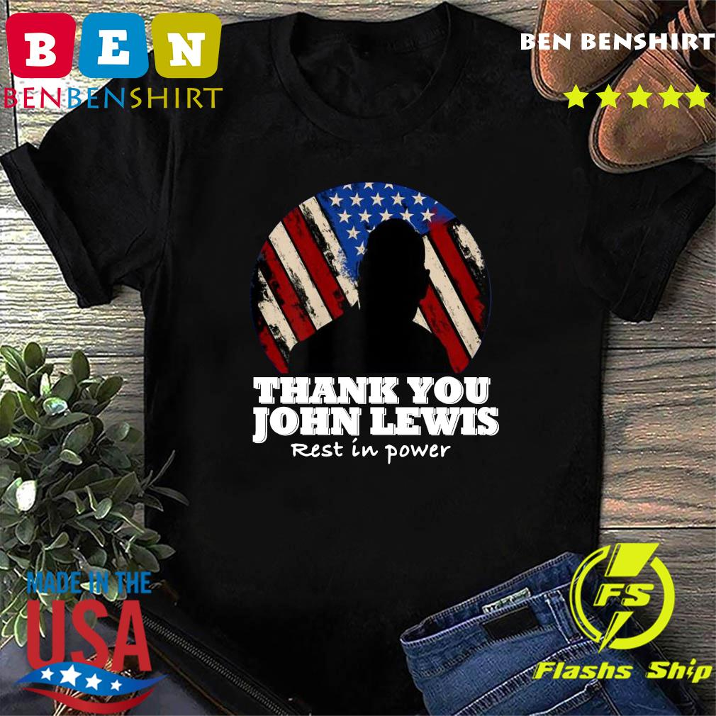 Distressed USA Flag Thank you John Lewis Rest in Power 2020 Shirt