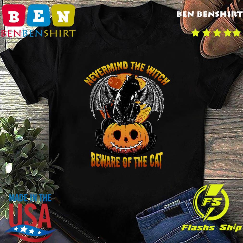 Black Cat Bat Nevermind The Witch Beware Of The Cat Pumpkin Halloween Shirt