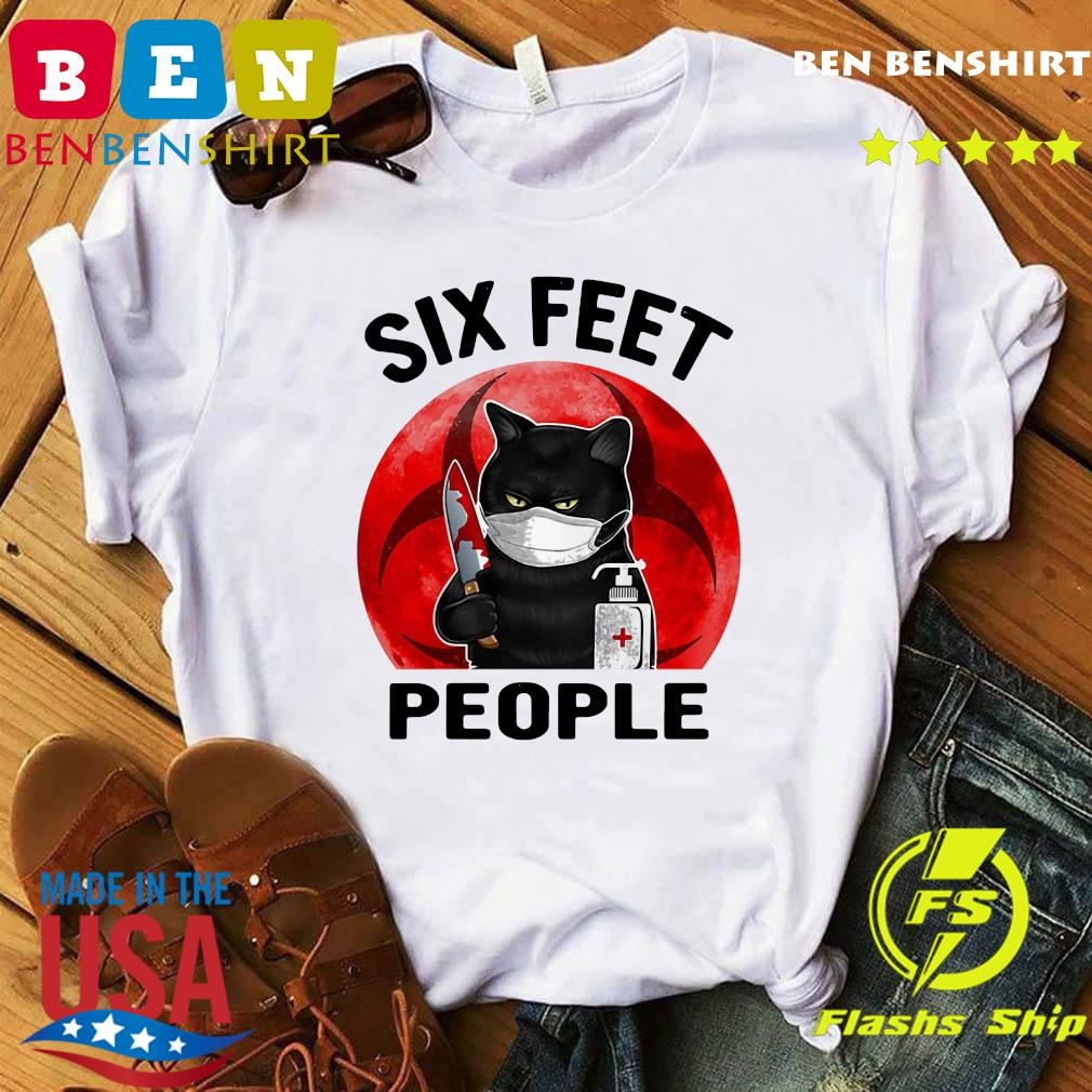 Black Cat Face Mask Knife Blood Six Feet People Moon Shirt