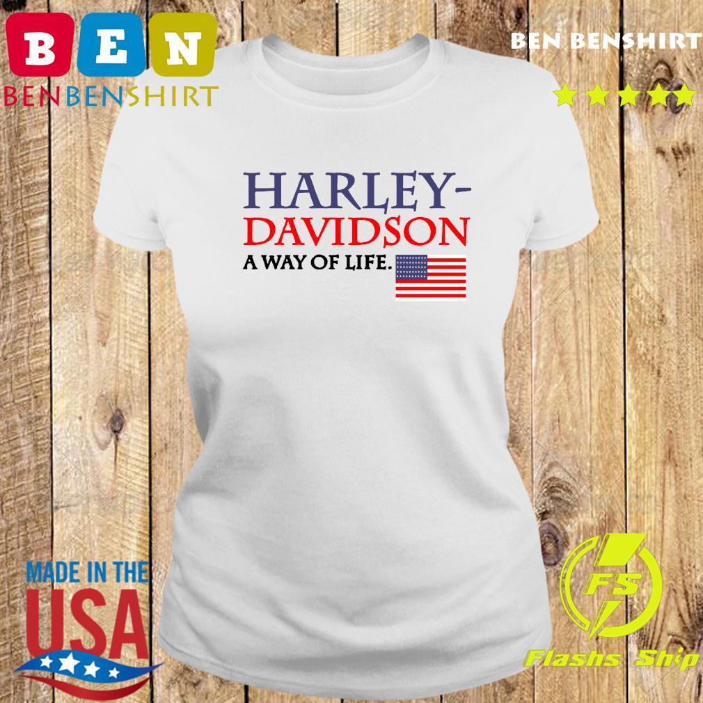 Harley Davidson A Way Of Life American Flag Shirt Ladies tee