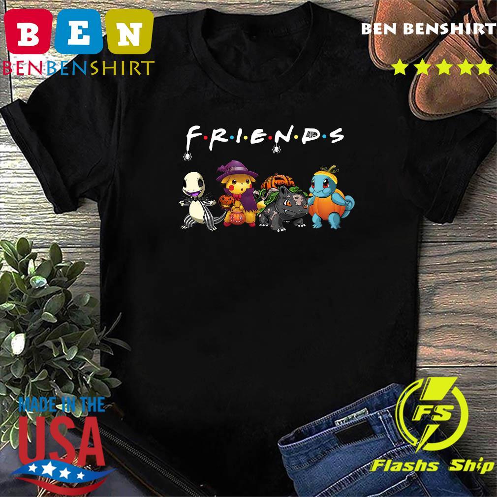 Pokemon Charmander Pikachu Bulbasaur And Squirtle Friends Halloween Shirt