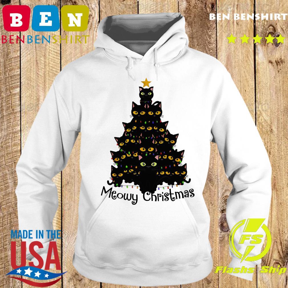 Black Cats Meowy Christmas Tree Sweats Hoodie