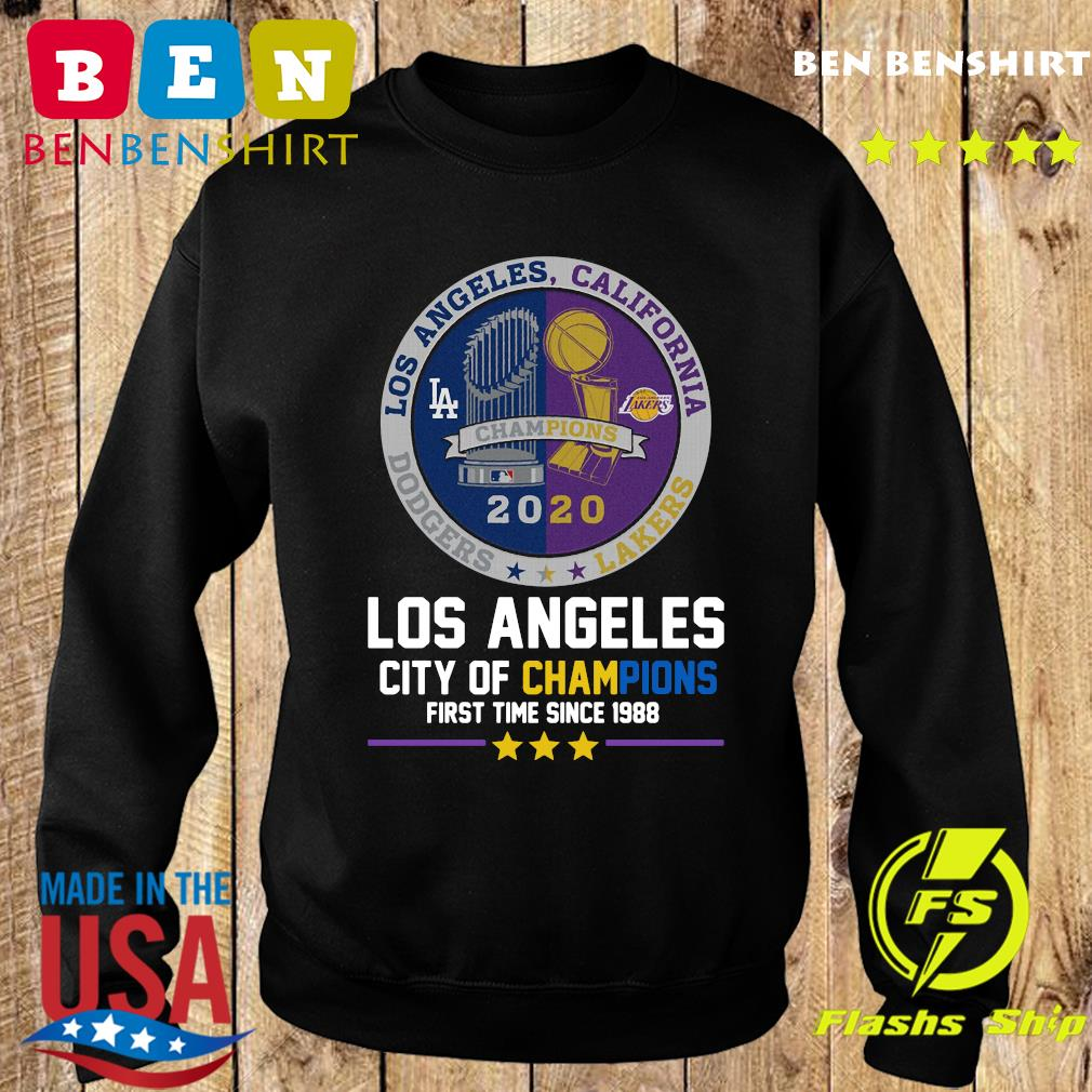 Los Angeles California Lakers Dodgers Los Angeles City Of Champions First Time Since 1988 Shirt Sweater
