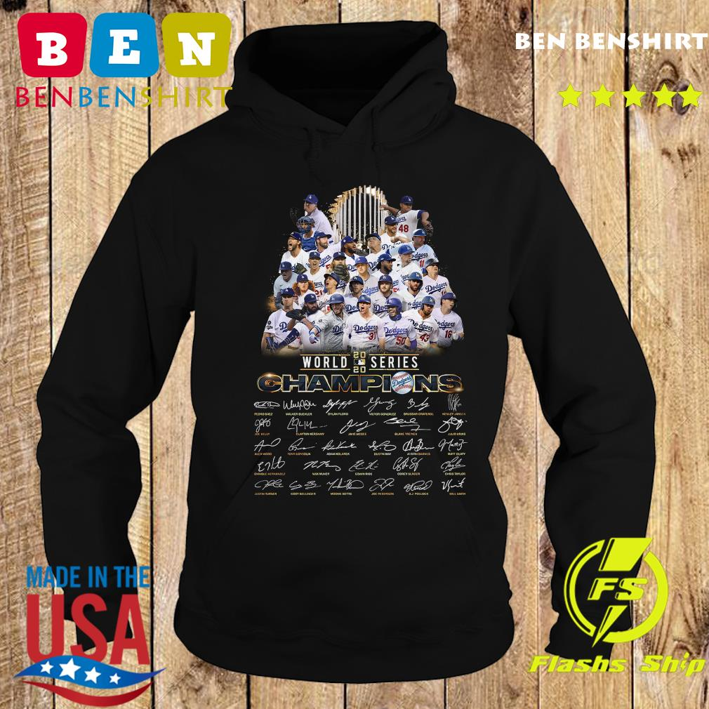 Los Angeles Dodgers World Series 2020 Champions Signatures Shirt Hoodie