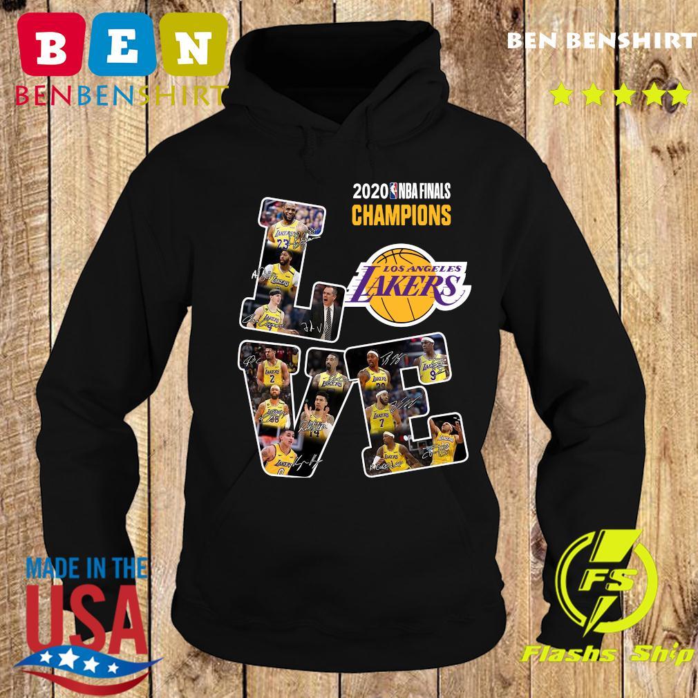 Love Los Angeles Lakers 2020 Nba Finals Champions Signatures Shirt Hoodie