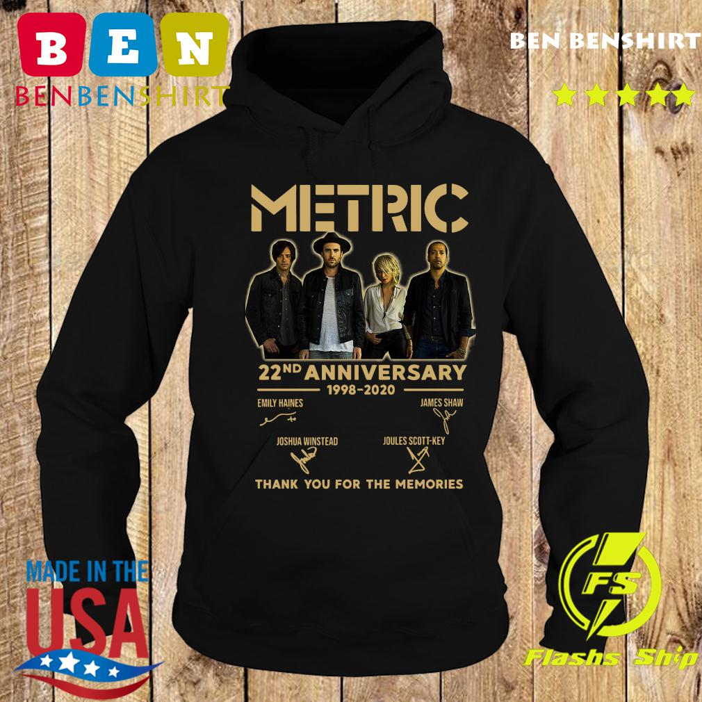 Metric 22nd Anniversary 1998 2020 Thank You For The Memories Signatures Shirt Hoodie