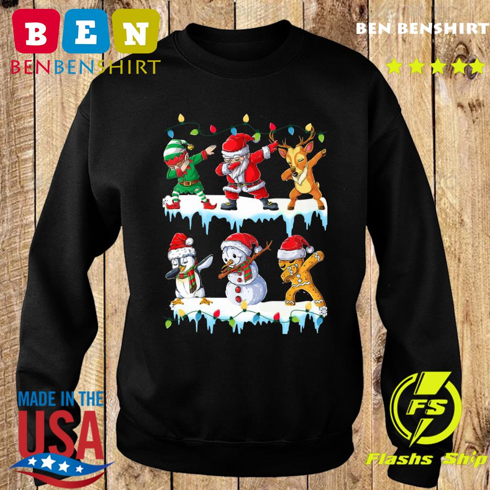 Santa Claus Gingerbread Elf Reindeer Snowman Penguin Dabbing Merry Christmas Sweatshirt