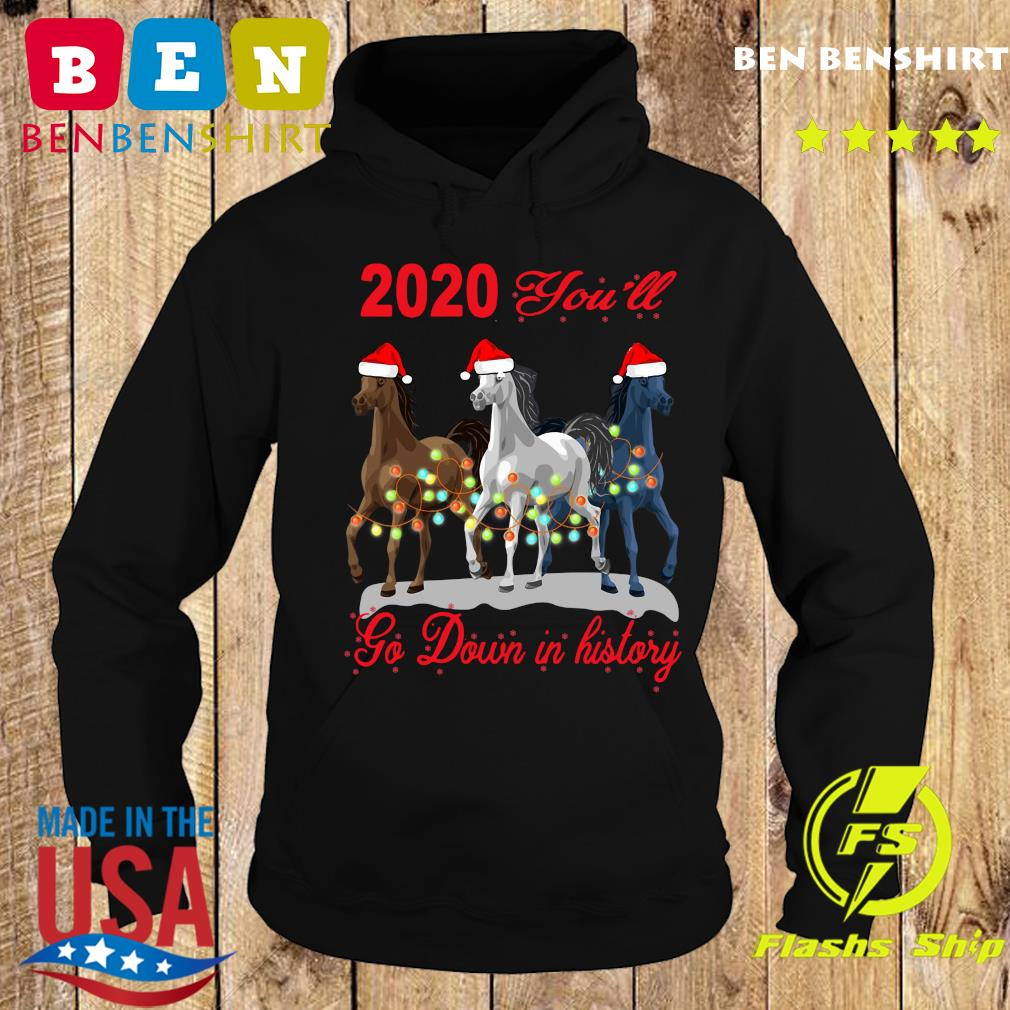 Three Horse 2020 You Will Go Down In History Christmas Sweats Hoodie