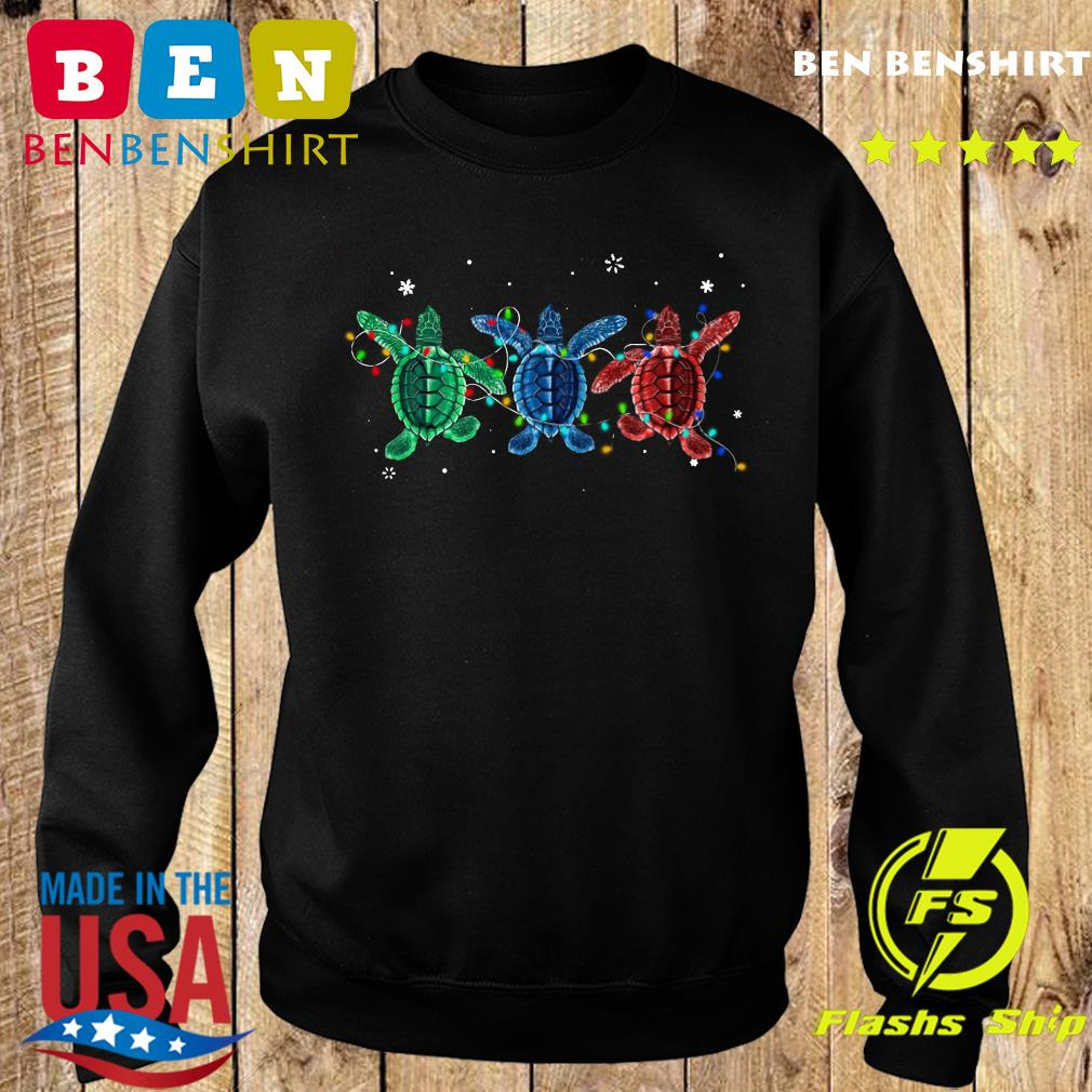 Three Turtle Christmas Lights Crewneck Sweatshirt