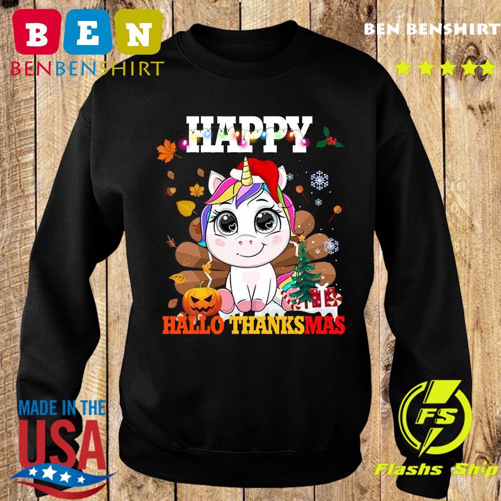 Unicorn Happy Hallothanksmas Shirt Sweater
