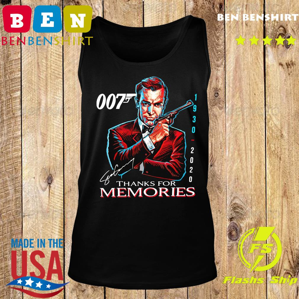 007 Sean Connery 1930 2020 Thank You For The Memories Signature Shirt Tank top