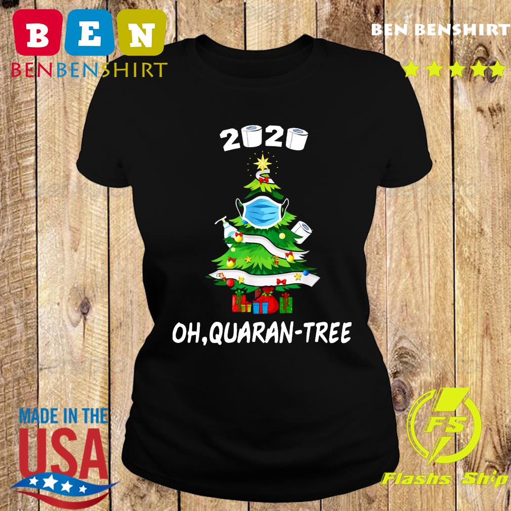 2020 Funny Quarantine Christmas Tree Ornament Mask Sweats Ladies tee