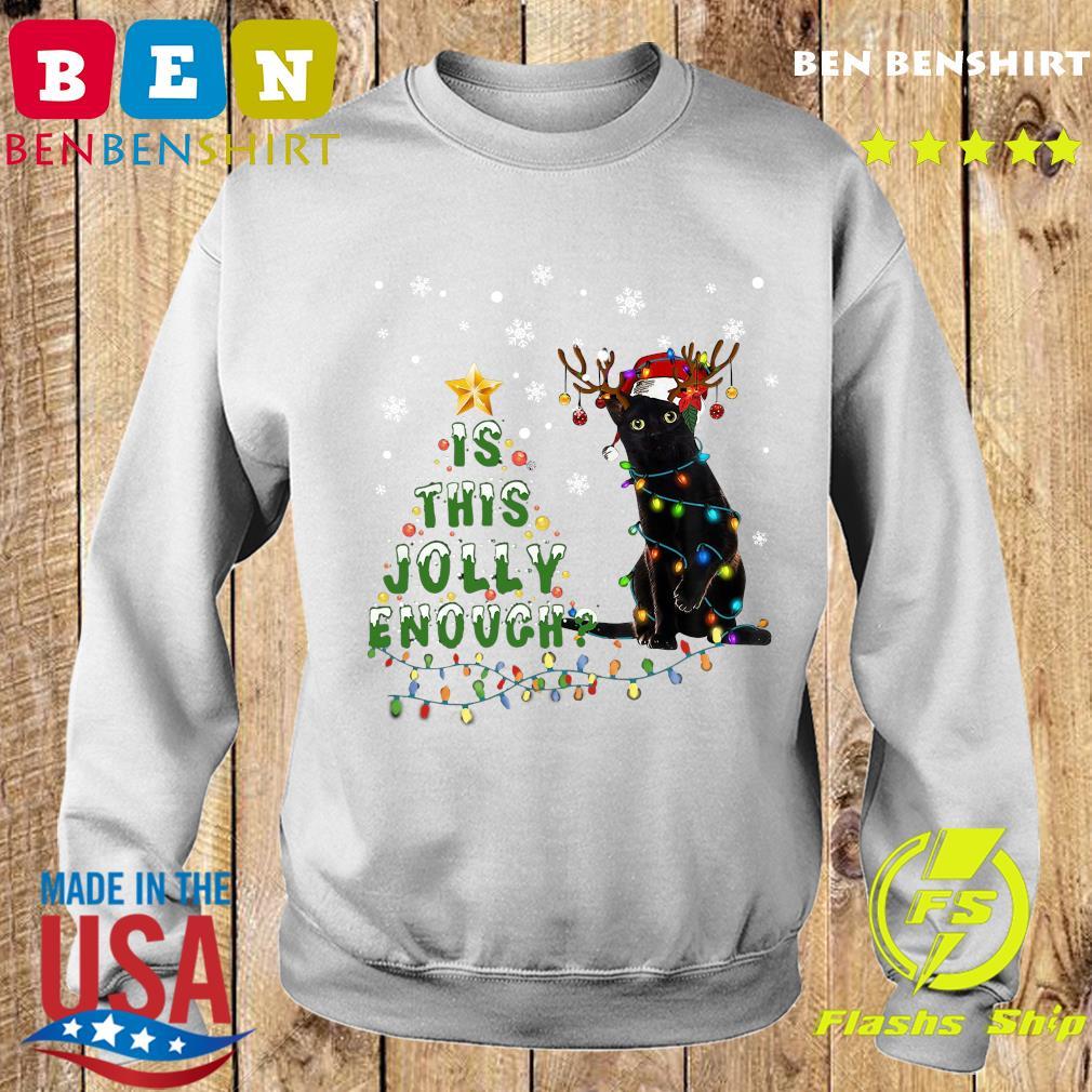 Black Cat Santa Is This Jolly Enough Merry Christmas Tree Sweatshirt