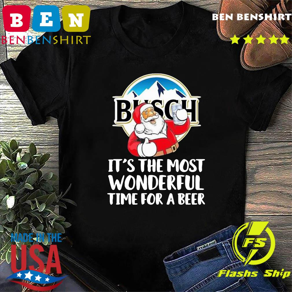 Busch Light It's The Most Wonderful Time For A Beer Christmas Santa 2020 T-Shirt