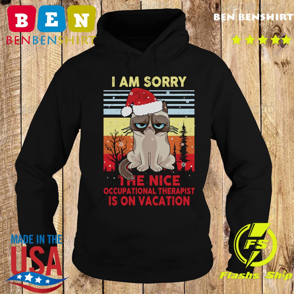 Cat Santa I Am Sorry The Nice Occupational Therapist Is On Vacation Vintage Shirt Hoodie