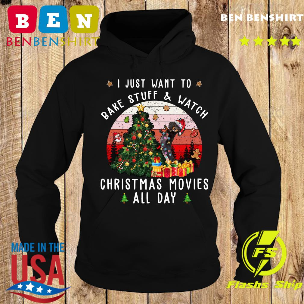 Dachshund I Just Want To Bake Stuff And Watch Christmas Movies All Day Vintage Shirt Hoodie