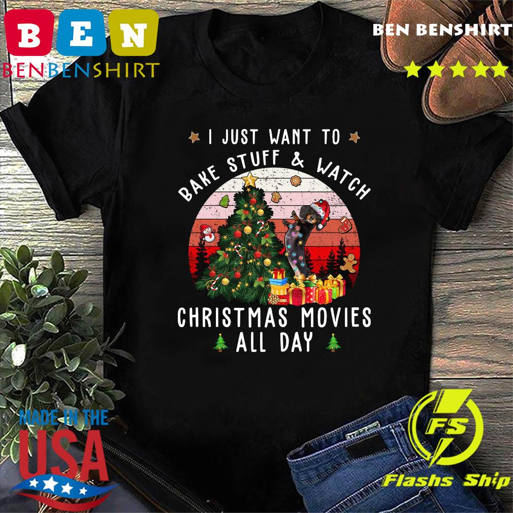 Dachshund I Just Want To Bake Stuff And Watch Christmas Movies All Day Vintage Shirt
