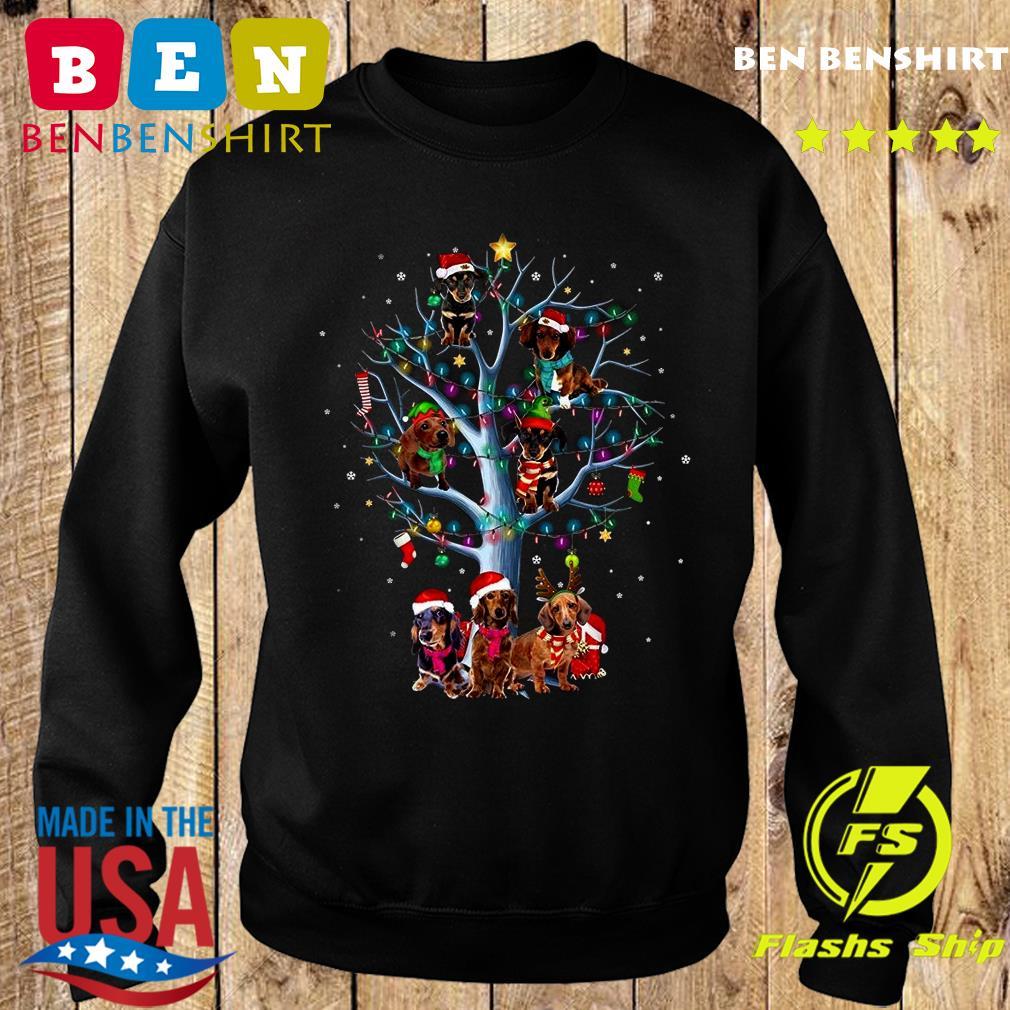 Dachshund Santa Tree Merry Christmas Light Sweatshirt