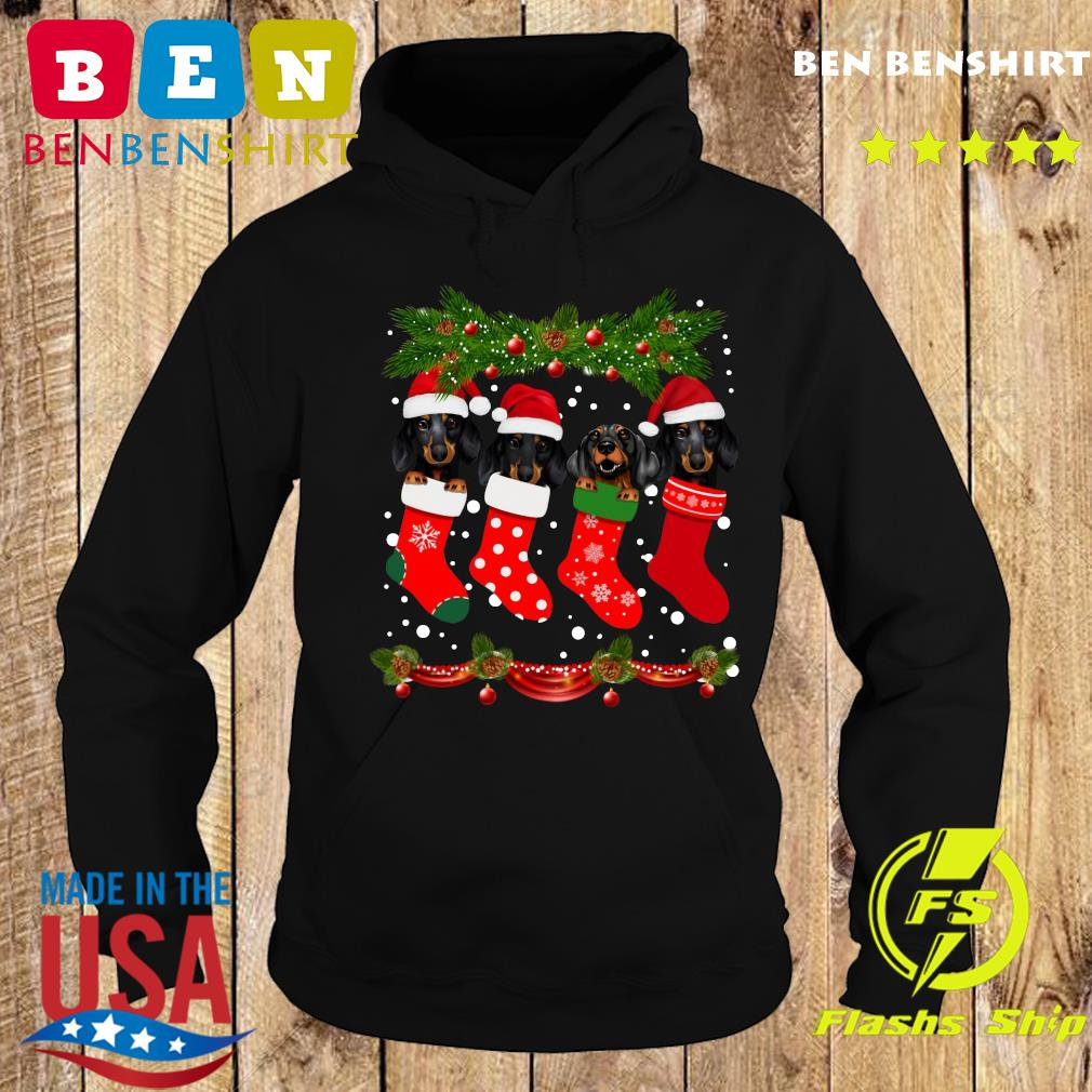 Dachshunds Santa In Socks Crew Neck Merry Christmas Sweats Hoodie