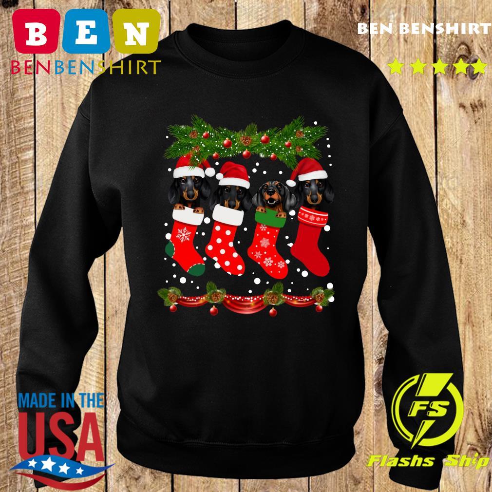 Dachshunds Santa In Socks Crew Neck Merry Christmas Sweatshirt