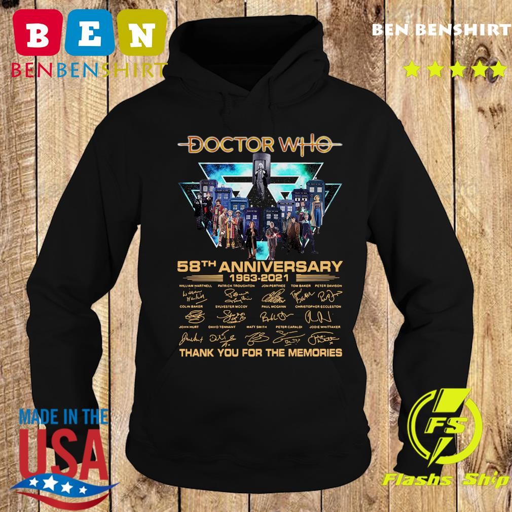 Doctor Who 58th Anniversary 1963 2021 Thank You For The Memories Signatures Shirt Hoodie