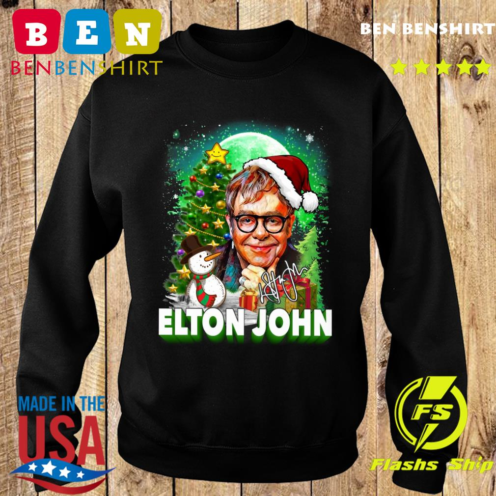 Elton John Santa Snowman Merry Christmas Signature Sweatshirt