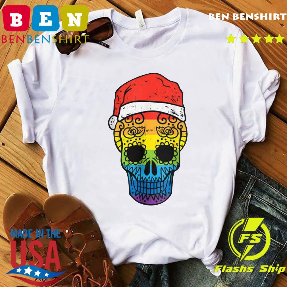 Gay Pride Santa Hat Sugar Skull LGBT Christmas Mexican Sweats Shirt