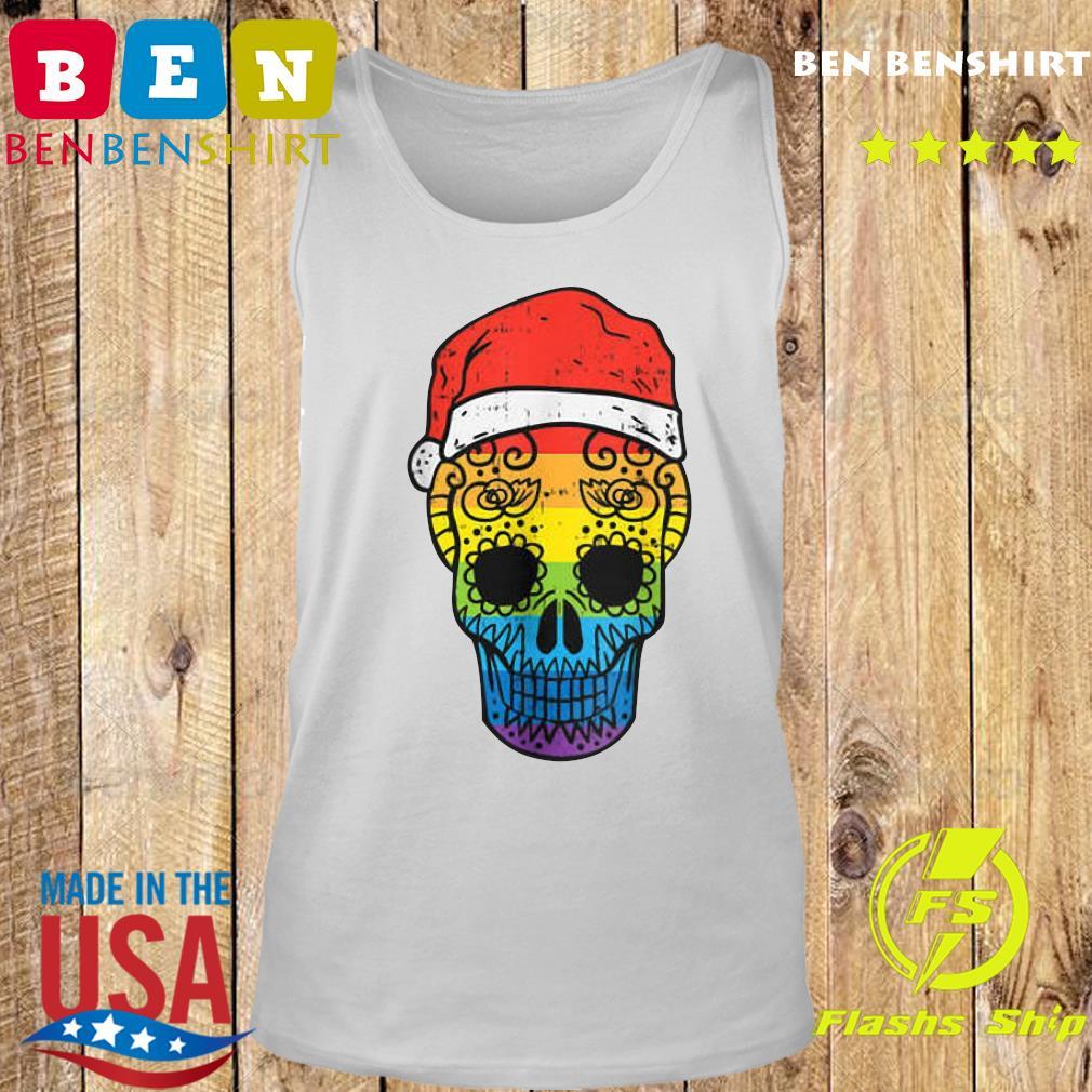 Gay Pride Santa Hat Sugar Skull LGBT Christmas Mexican Sweats Tank top