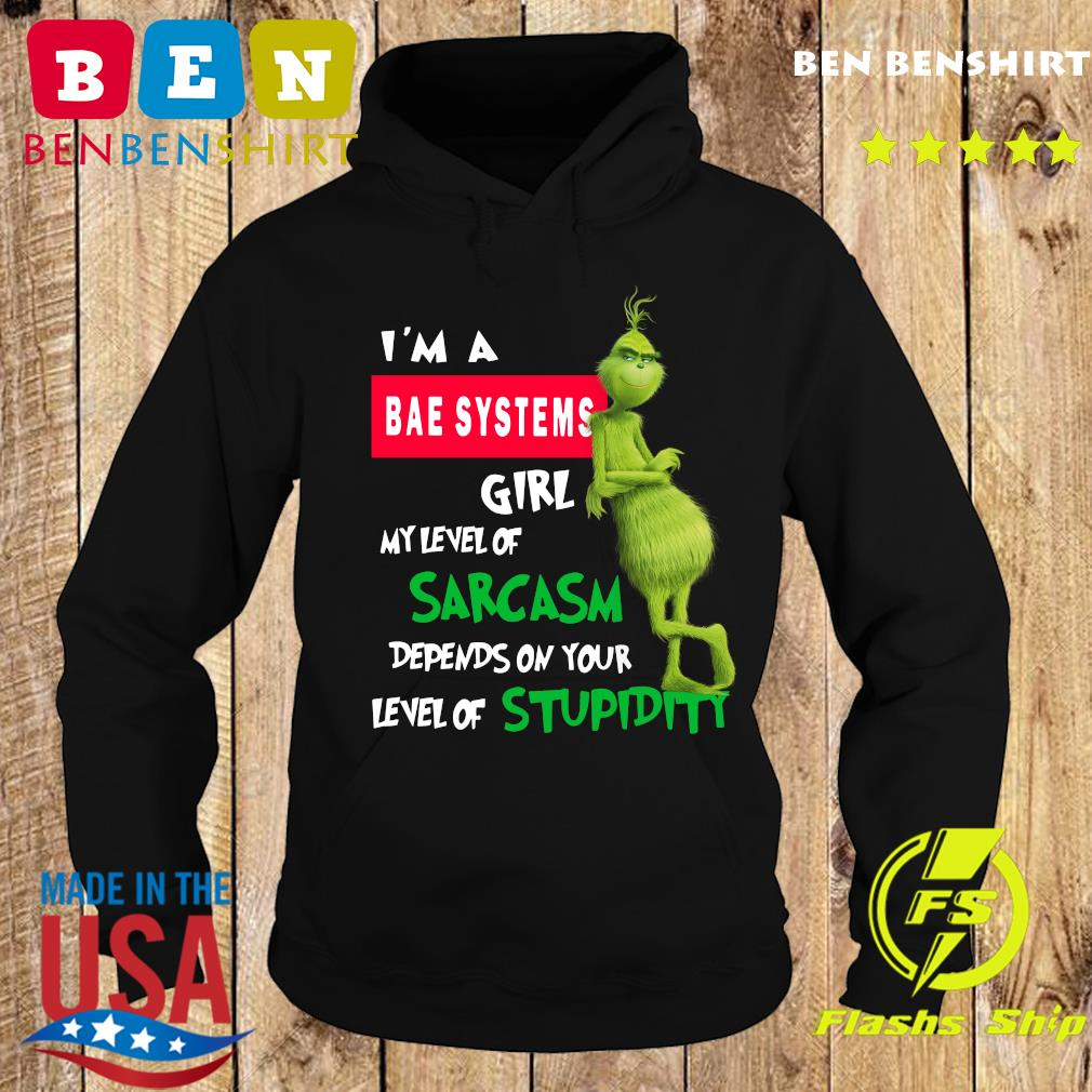 Grinch I'm A Bae Systems Girl My Level Of Sarcasm Depends On Your Level Of Stupidity Christmas Sweats Hoodie