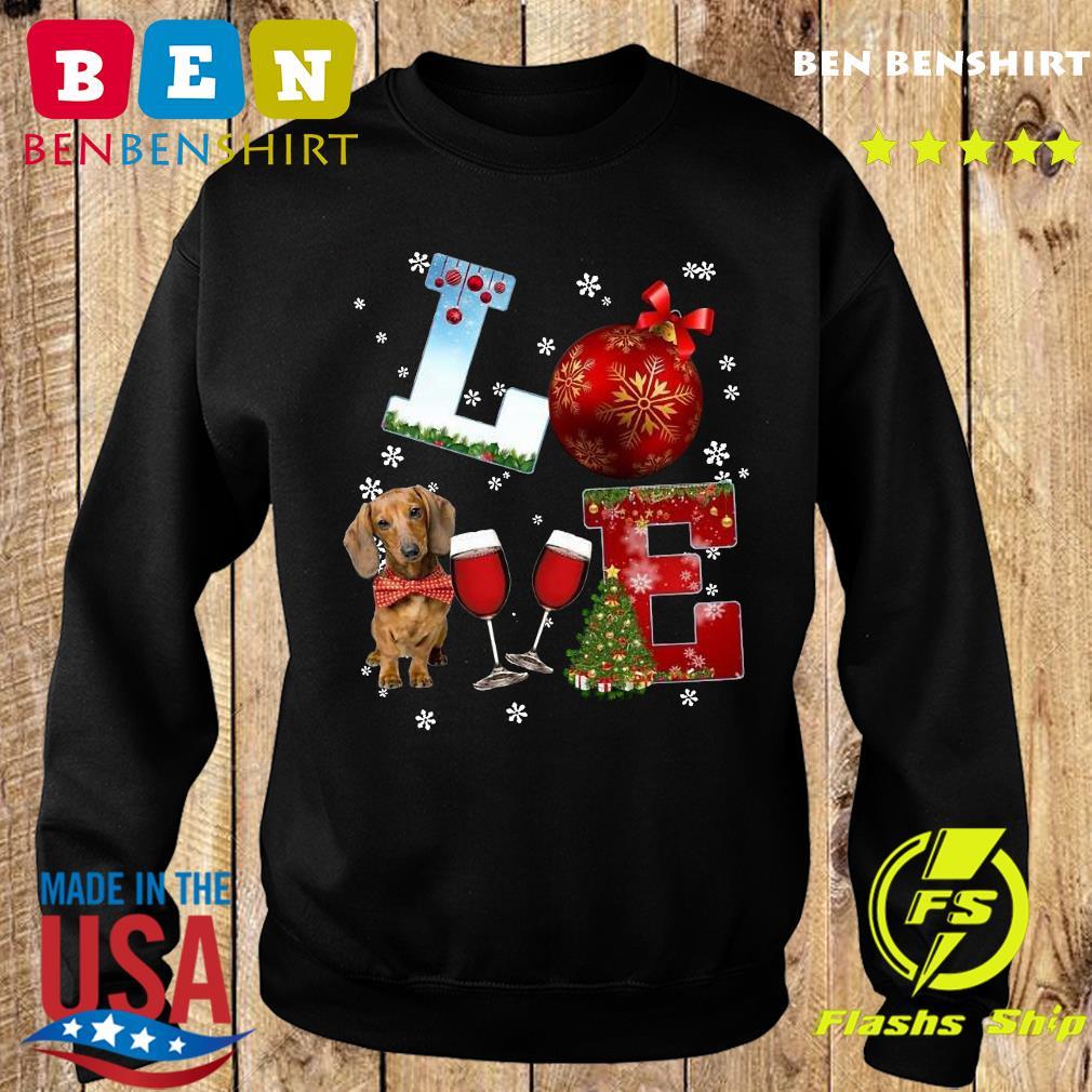 Love Dachshund Wine Ball Merry Christmas Sweatshirt