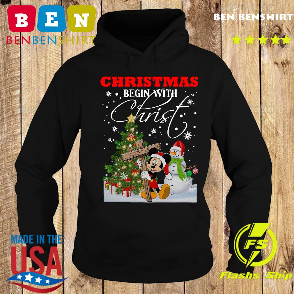Mickey Mouse Snowman Tree Christmas Begin With Christ Sweats Hoodie