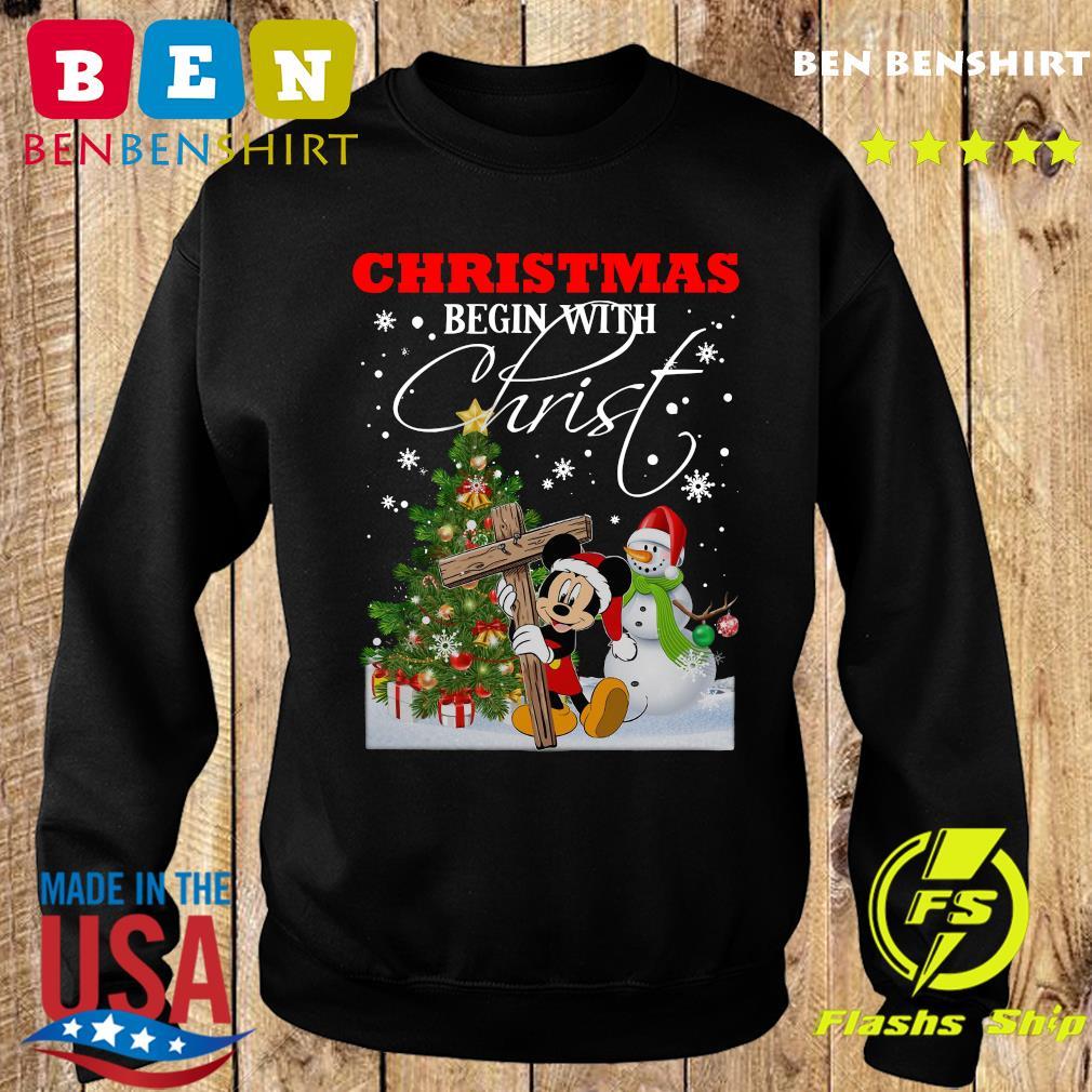 Mickey Mouse Snowman Tree Christmas Begin With Christ Sweatshirt