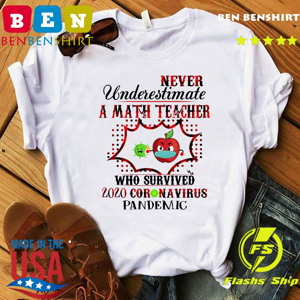 Never Underestimate A Math Teacher Who Survived 2020 Coronavirus Pandemic Shirt